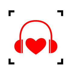 headphones with heart red icon inside vector image