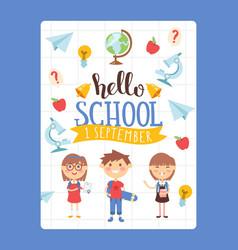hello school flat style vector image