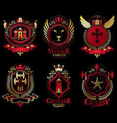Heraldic coat of arms created with vintage vector
