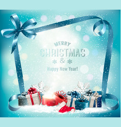holiday christmas background with presents and vector image
