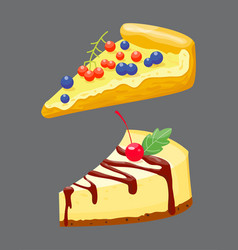 Homemade organic pie slice dessert vector