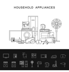 Household appliance line vector