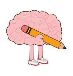 Human brain with pencil icon vector