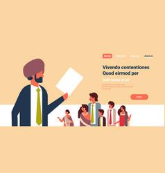 Indian businessman leader holding cv resume vector
