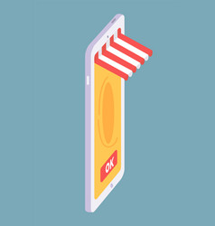 isometric smartphone with online shop concept ok vector image