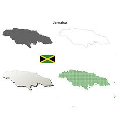 Jamaica outline map set vector image