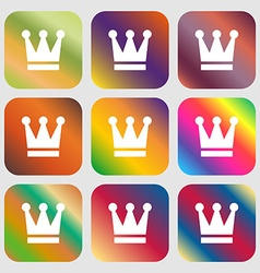 King Crown icon Nine buttons with bright gradients vector image