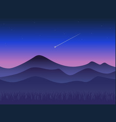 Landscape at sunset mountains and shooting star vector
