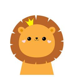 lion king face head icon cute kawaii animal vector image