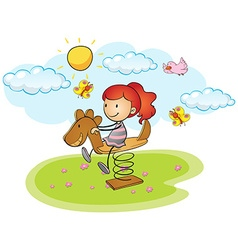 Little girl playing on rocking horse vector image