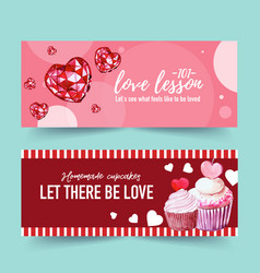 Love banner design with diamond cupcake icing vector