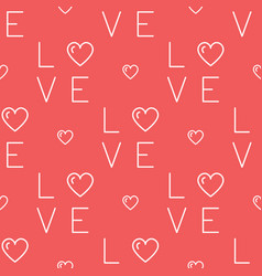 love pattern seamless text and hearts vector image