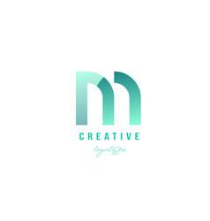 M green pastel gradient alphabet letter logo icon vector
