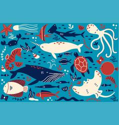 Marine life doodle set vector