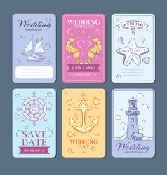marine sea voyage wedding invitation cards vector image