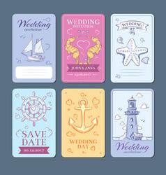 Marine sea voyage wedding invitation cards vector