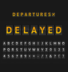 Mechanical airport flip board delayed and set vector