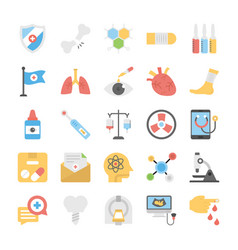 Medical and health colored icons set vector