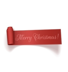 Merry Christmas red realistic curved Ribbon vector image
