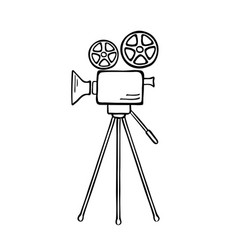 Movie camera sketch vector