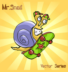 Mr snail with skateboard vector