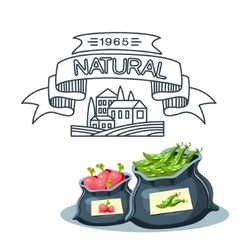 Natural food farm products banner bags with vector image vector image