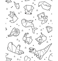Origami pattern background with outline animals vector