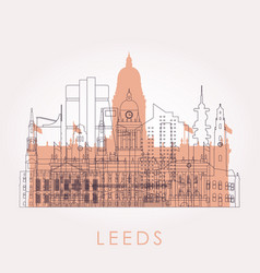 outline leeds skyline with landmarks vector image