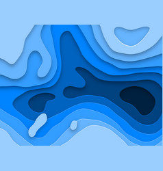 Papercut multi layers texture blue background vector