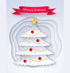 postcard decorated fir tree vector image