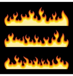 Red Fire Burning Flames Set on a Black Background vector image
