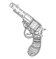 Revolver pistol coloring book vector