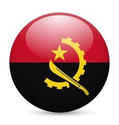 Round glossy icon of angola vector