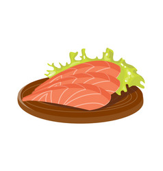 salted red fish slice on wooden board fresh meat vector image