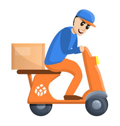 scooter parcel delivery icon cartoon style vector image