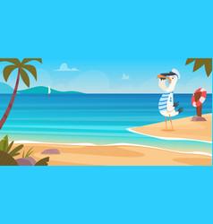 seagull on beach bird sailor on seaside standing vector image
