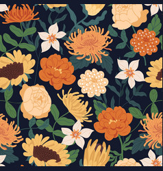 Seamless floral pattern with fall flowers endless vector