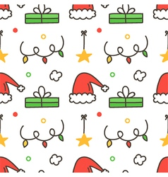 Seamless pattern with santa hats gift boxes vector image