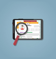 search cv on the tablet vector image