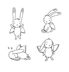 Set cute rabbits with wings vector