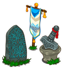 Set items in norse mythology isolated vector