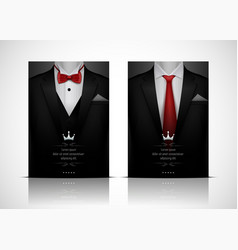 set of black tuxedo business card templates with r vector image