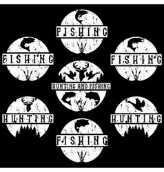 Set of grunge vintage hunting and fishing labels vector