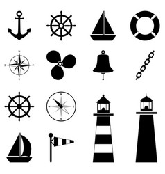 set of sea icons vector image