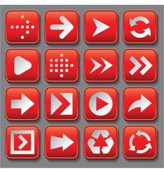 set of stylized buttons with different arrows vector image
