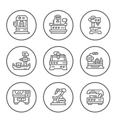 Set round line icons of machine tool vector