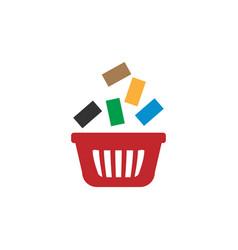 Shopping bag with goods retail logo design vector