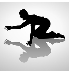 Silhouette of a man crawling vector