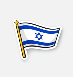 Sticker flag israel on flagstaff vector