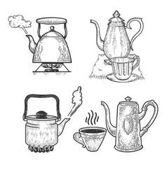Teapot set line art sketch vector